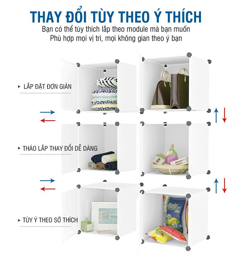 Tủ nhựa ghép đa năng cho bé giá rẻ Doremon 6 cửa 6 ô – TXLDRM0606