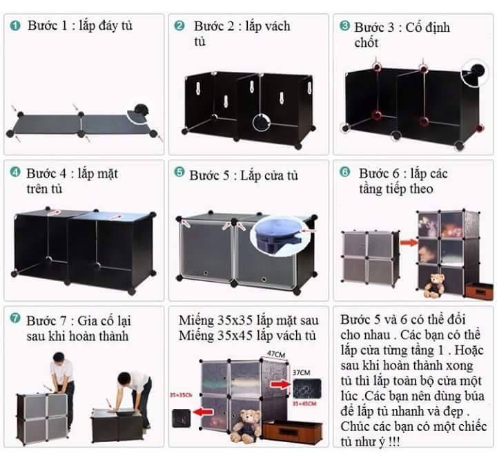Hướng dẫn lắp đặt kệ tủ nhựa ghép doremon - TGDRM020101